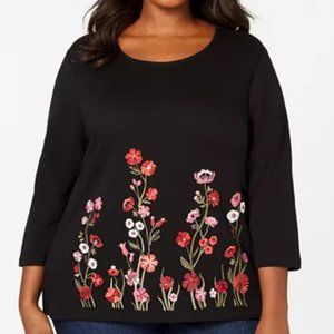 Karen Scott Plus Size Embroidered Top